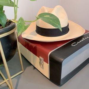 J. Crew Panama Straw Hat w/ Black Grosgrain Ribbon